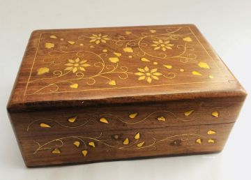 "BRASS 6x4"" FLORAL Jewellery Trinket Box"